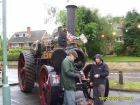 Enterprise - in steam outside Rempstone Village Hall provided a very special focus for the Diamond Jubilee Celebrations with owner Michael Beeby (left) and Frank Santoro.